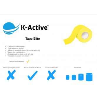 Banda Kinesiologica  Tape Elite Galben - 6 Role x 5 cm x 5 m